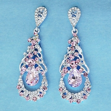 PINK PALISADES CHANDELIER CRYSTAL EARRINGS