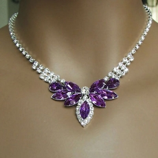 Purple-Lavender Rhinestone Necklace Sets