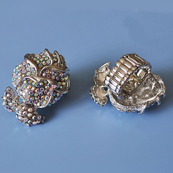 SILVER ROSE COSTUME JEWELRY RING