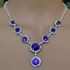SIMPLY CIRCLES PURPLE RHINESTONE JEWELRY SET FOR YOUR BRIDESMAIDS - ONE REMAINING SET