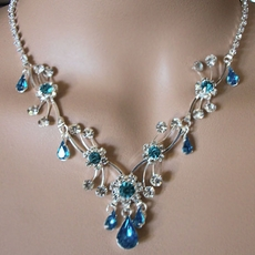 SOFIA TEAL RHINESTONE JEWELRY NECKLACE SET