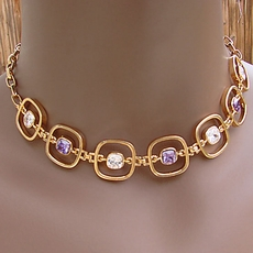 VINTAGE GOLD CHOKER JEWELRY SQUARED