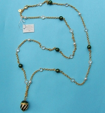 VINTAGE LONG AND LOVELY GOLD-GREEN NECKLACE