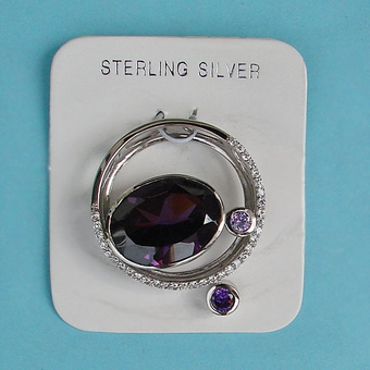 VINTAGE STERLING SILVER PURPLE PENDANT