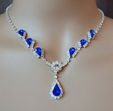 WINSOME ROYAL BLUE RHINESTONE JEWELRY SET