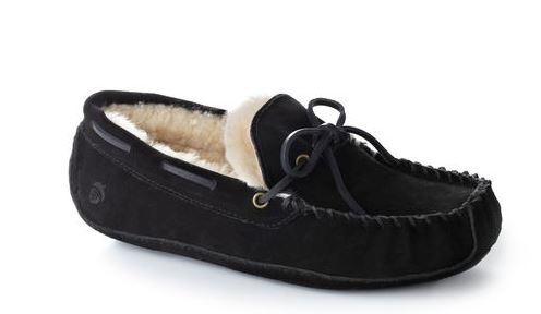 Acorn Mens Sheepskin Moxie Moc Slipper Black