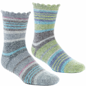 ACORN Toasty Treads 2 Pack Socks for Women - Green/Grey