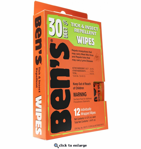 Ben's 30 Tick & Insect Repellent Wipes 12/Box