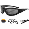 Bobster Raptor Round Sunglasses,Black Frame/3 Lenses (Smoked, Amber and Clear)
