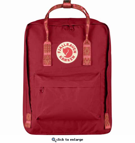 FjallRaven Kanken Backpack - Deep Red/Folk Patter