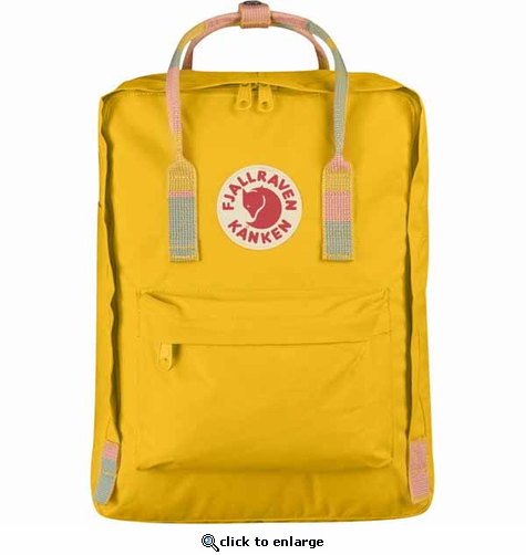 FjallRaven Kanken Backpack - Warm Yellow/Random Blocked