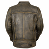 Milwaukee Leather Men's Brown Distressed Scooter Jacket