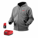 Milwaukee M12 Gray Heated Hoodie Kit with Battery