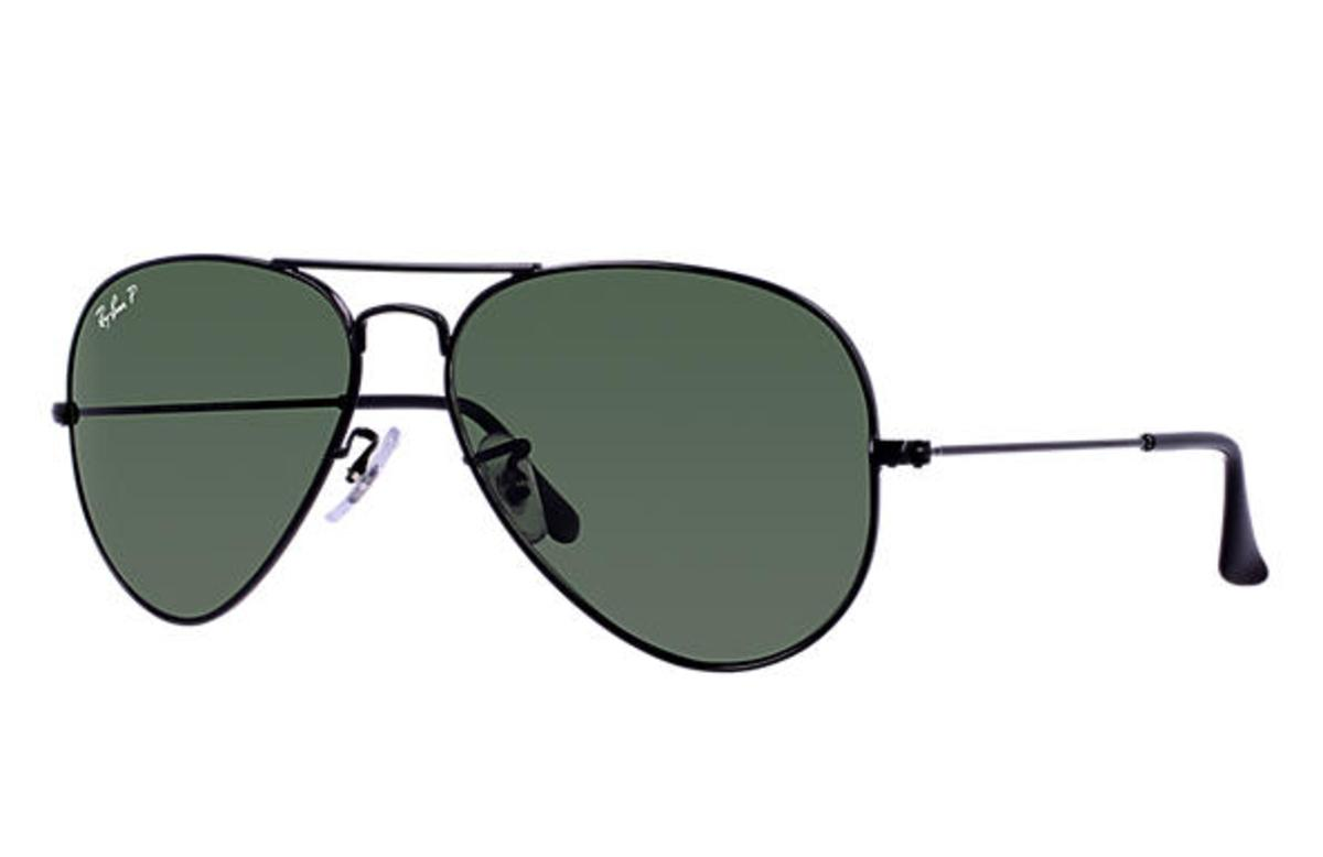 00d30c2730 ... authentic ray ban aviator classic sunglasses with black frame polarized green  classic g 15 lens the