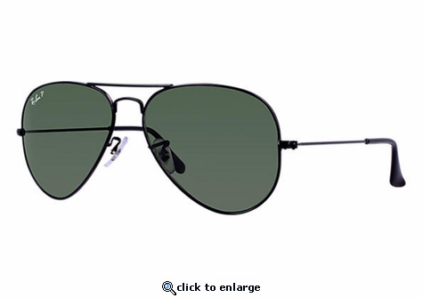 Ray-Ban Aviator Classic Sunglasses with Black Frame/Polarized Green Classic G-15 Lens