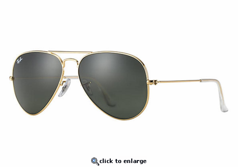 Ray-Ban Aviator Classic Sunglasses with Gold Frame/Green Classic G-15 Lens