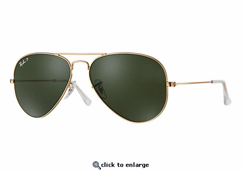 Ray-Ban Aviator Classic Sunglasses with Gold Frame/Polarized Green Classic G-15 Lens
