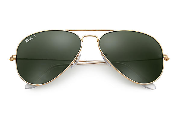 Ray-Ban Aviator Classic Sunglasses with Gold Frame/Polarized Green ...