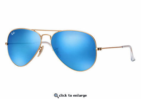 Ray-Ban Aviator Flash Lenses Sunglasses with Gold Frame/Blue Flash Lens