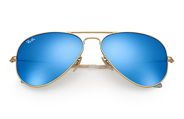 116c3dcc2e0fe Ray-Ban Aviator Flash Lenses Sunglasses with Gold Frame Blue Flash Lens -  The Warming Store