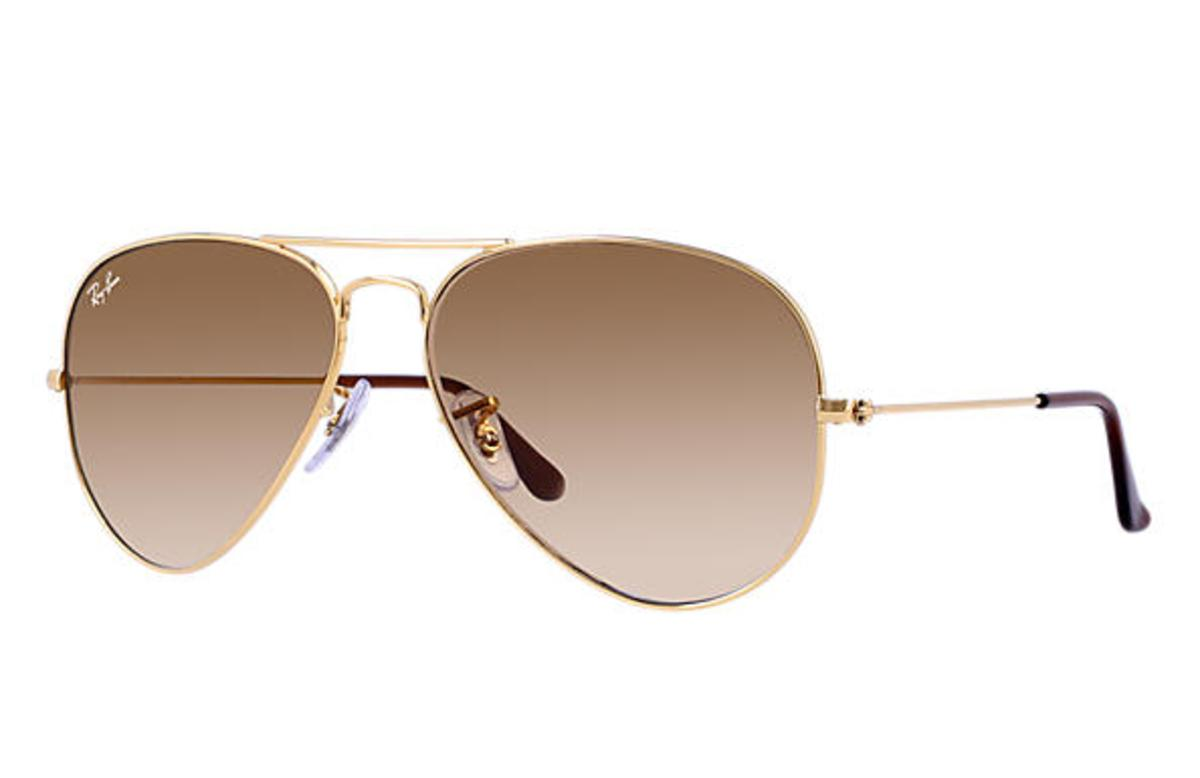 Ray-ban Aviator Gradient Sunglasses With Gold Frame/light Brown Gradient Lens