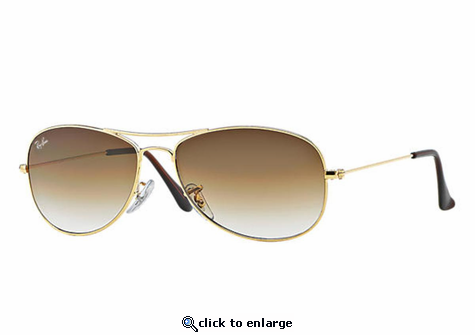 Ray-Ban Cockpit Sunglasses with Gold Frame/Light Brown Gradient Lens