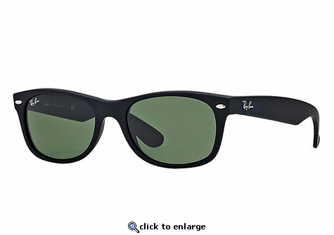 Ray-Ban New Wayfarer Classic Sunglasses with Black Frame/Green Classic Lens