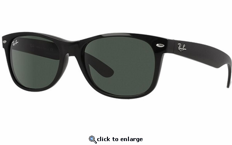 Ray-Ban New Wayfarer Classic Sunglasses with Black Frame/Green Lens