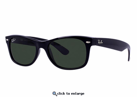 Ray-Ban New Wayfarer Classic Sunglasses with Black Frame/Polarized Green Classic G-15 Lens