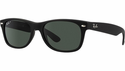 Ray-Ban New Wayfarer Classic Sunglasses with Rubber Black Frame/Polar Green Lens