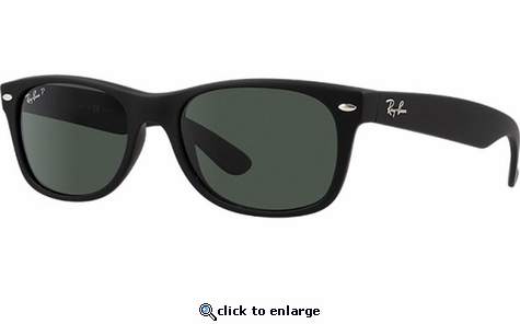 540ea094aec Ray-Ban New Wayfarer Classic Sunglasses with Rubber Black Frame Polar Green  Lens