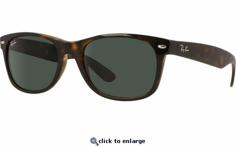 Ray-Ban New Wayfarer Classic Sunglasses with Tortoise Frame/Green Lens
