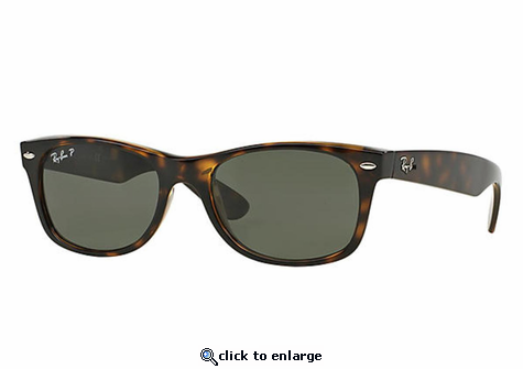 Ray-Ban New Wayfarer Classic Sunglasses with Tortoise Frame/Polarized Green Classic G-15 Lens