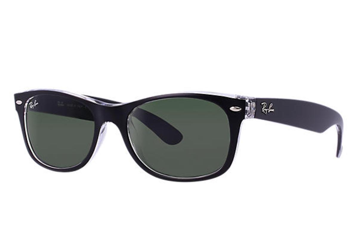 924740bf1b Ray-Ban New Wayfarer Color Mix Sunglasses with Black Transparent  Frame Green Classic G-15 Lens - The Warming Store