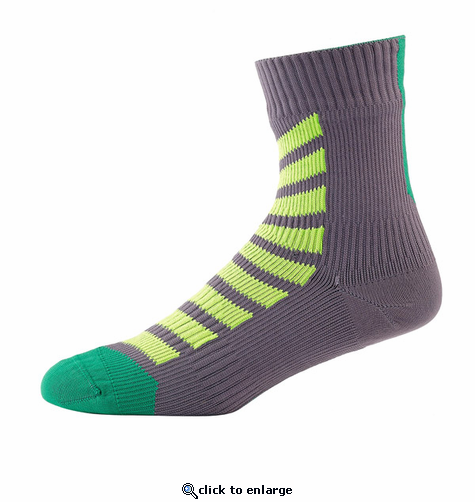 SealSkinz MTB Thin Ankle Socks with Hydrostop - Anthracite/Lime/Leaf