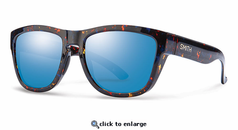 Smith Lifestyle Clark Sunglasses Flecked Blue Tortoise Carbonic Blue Flash Mirror