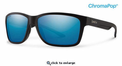 715c3fc1d76f5 Smith Optics Lifestyle Drake Sunglasses Matte Black Chromapop+ Polarized  Blue Mirror