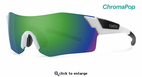 Smith Performance Pivlock Arena Sunglasses Matte White Chromapop Sun Green Mirror