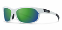 Smith Performance Pivlock Overdrive Sunglasses Matte White Carbonic Green Sol-X Mirror