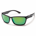 Suncloud Injection Cutout Black Polarized Green Mirror Sunglasses