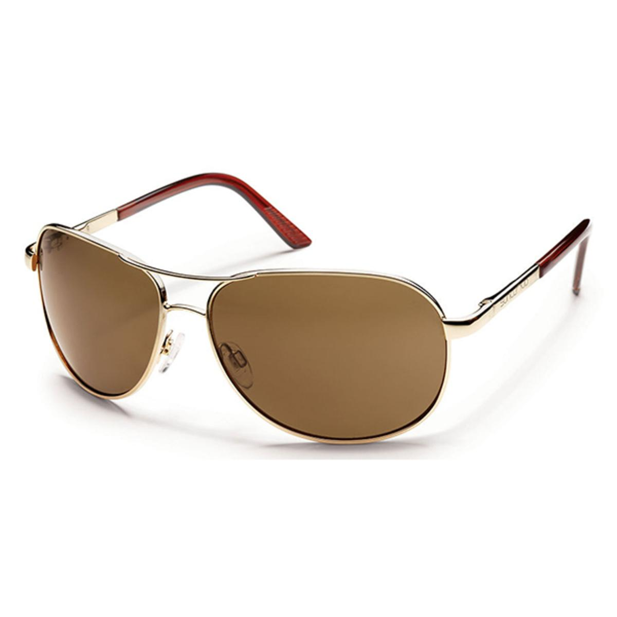 0a409e5ed44b7 Suncloud Metals Aviator Gold Polarized Brown Sunglasses - The Warming Store