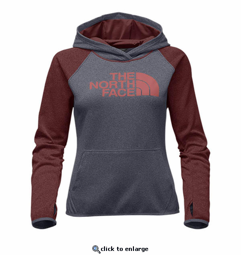 The North Face Women's Fave Half Dome Pull-Over Hoodie - Medium Grey Heather/Faded Rose