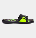 Under Armour Men's UA Ignite Banshee II Slides - Black/High/Vis Yellow/Metallic Silver