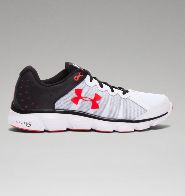 Under Armour Men s UA Micro G Assert 6 Running Shoes - White Black Rocket  Red - The Warming Store 14a852e7fd4a