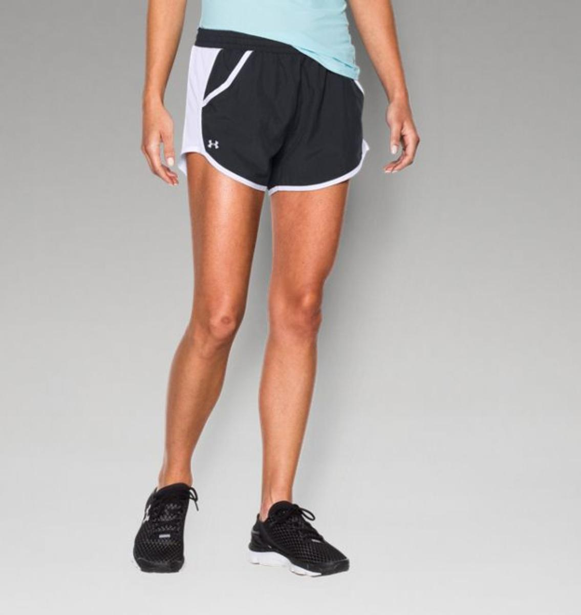 Under Armour Womens Ua Fly-by Run Short Anthracite/harmony Red/reflective