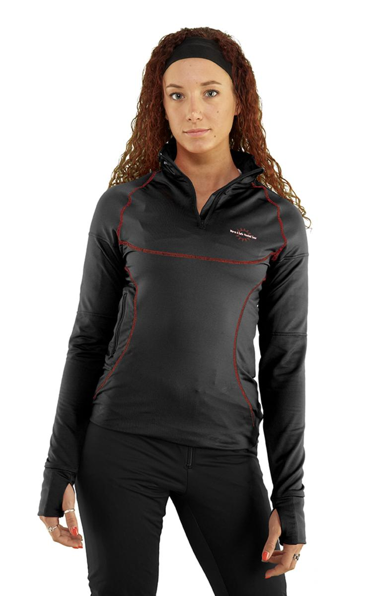 Warm & Safe Women's Black Heated Layer Long Sleeve Shirt – 7.4V Kit with Battery