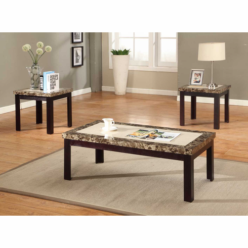 2 TONE FAUX MABLE TOP COFFEE & END TABLE SET (3PCS)
