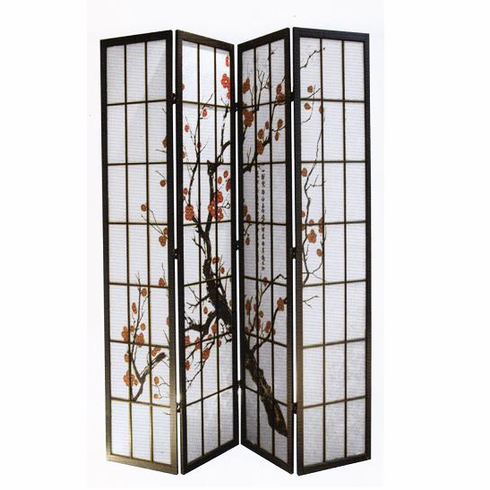 4 Panel Divider with Plum Blossom Design