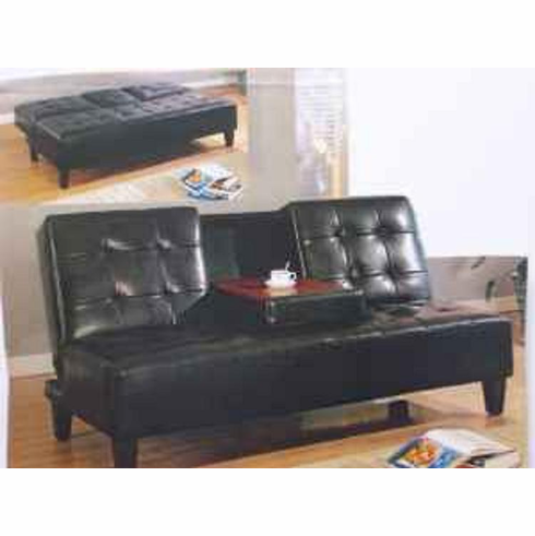 Black Click-Clack sofa bed with cup holder