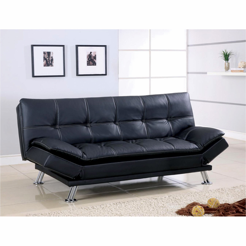 BLACK FUTON SOFA BED WITH ADUSTABLE ARMS